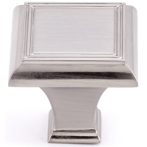 """View a Larger Image of Traditional Knob, 1-3/8"""" x 1-3/8"""", Brushed Nickel"""