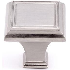 "Traditional Knob, 1-3/8"" x 1-3/8"", Brushed Nickel"