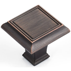 """Traditional Knob, 1-3/8"""" x 1-3/8"""", Brushed Oil-Rubbed Bronze"""