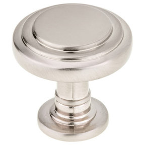 """Traditional Knob, 1-5/16"""" D, Brushed Nickel"""