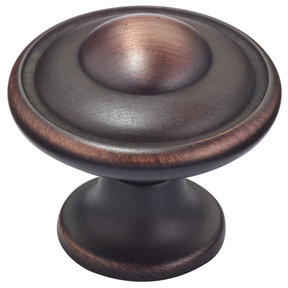 """Traditional Knob, 1-7/32"""" D, Brushed Oil-Rubbed Bronze"""
