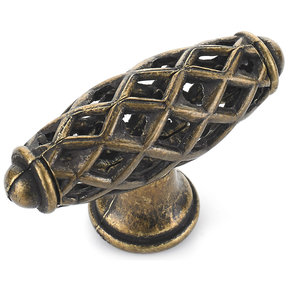 """Traditional Knob, 2-9/32"""" x 25/32"""", Regency Brass"""