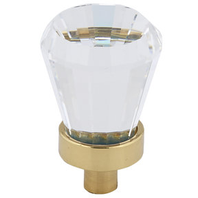 """Traditional Knob, 3/4"""" D, Brass, Clear"""