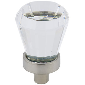 """Traditional Knob, 3/4"""" D, Clear, Brushed Nickel"""