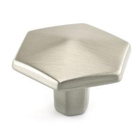 "Transitional Knob, 1-1/2"" D, Brushed Nickel"