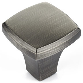 "Transitional Knob, 1-1/4"" x 1-1/4"", Antique Nickel"