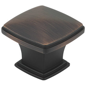 """Transitional Knob, 1-11/16"""" x 1-11/16"""", Brushed Oil-Rubbed Bronze"""