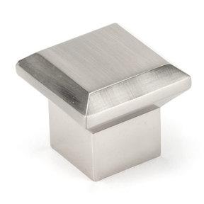 "Transitional Knob, 1-11/32"" x 1-11/32"", Brushed Nickel"