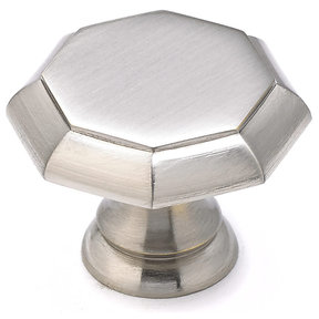 "Transitional Knob, 1-3/16"" D, Brushed Nickel"