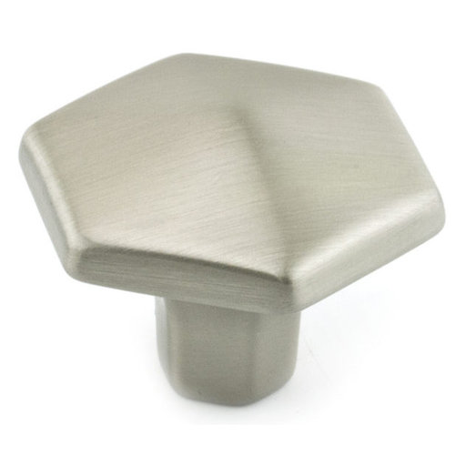 """View a Larger Image of Transitional Knob, 1-3/16"""" D, Brushed Nickel"""