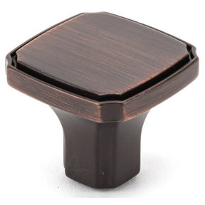 """Transitional Knob, 1-3/8"""" x 1-3/8"""", Brushed Oil-Rubbed Bronze"""