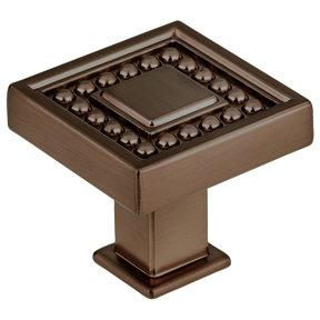 "Transitional Knob, 1-5/16"" x 1-5/16"", Honey Bronze"