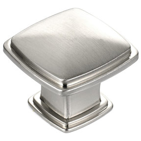 "Transitional Knob, 1-7/32"" x 1-7/32"", Brushed Nickel"