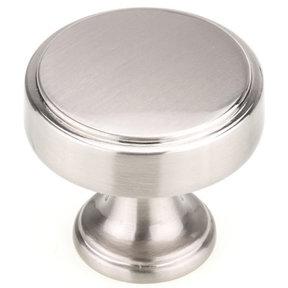 "Transitional Knob, 1-9/16"" D, Brushed Nickel"