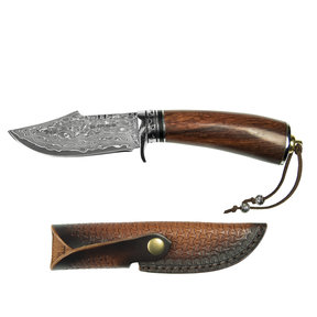 """Tribe - Damascus Fixed Blade Knife, Stainless Damascus 3-3/4"""" Blade"""