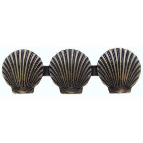 Triple Scallop Seashell Pull, Brass Oxide