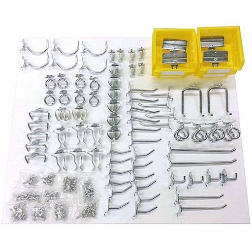 View a Larger Image of 83 Pc Steel Hook and Bin Assortment for DuraBoard or Pegboard