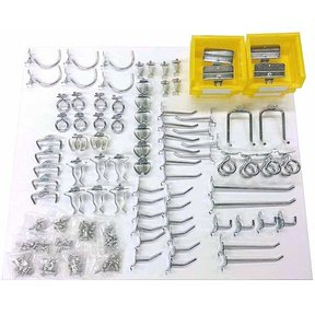 83 Pc Steel Hook and Bin Assortment for DuraBoard or Pegboard