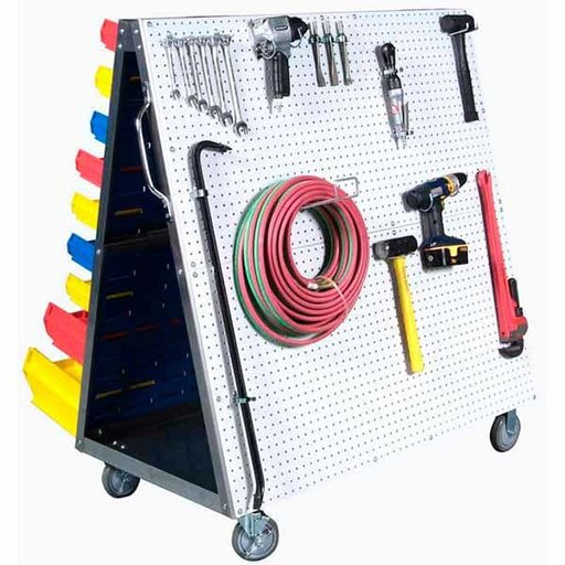 View a Larger Image of Aluminum Frame Mobile Combo Cart with One side DuraBoard Poly Pegboard and One Side Louvered Panel Storage