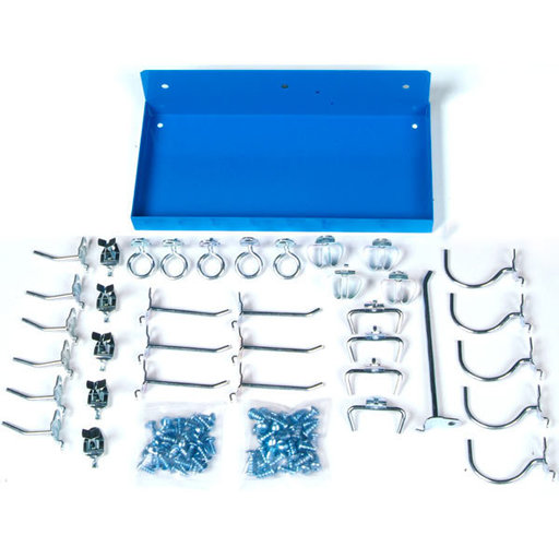 View a Larger Image of Blue Steel Shelf for DuraBoard with 36 Pc Hook Assortment