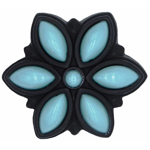 View a Larger Image of Turquoise Flower Knob Black Oxide
