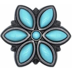Turquoise Flower Knob Pewter Oxide