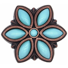 Turquoise Flower Knob Satin Copper Oxide