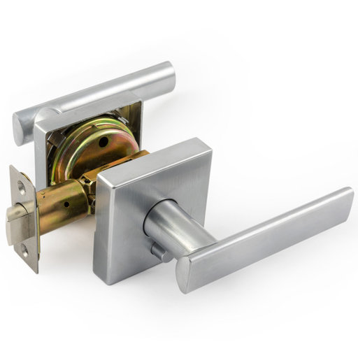 View a Larger Image of Tuxedo Series Straight Levers Satin Chrome  Left or Right Privacy
