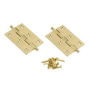 """Ball Tip Cabinet Hinge, Polished Brass 2"""" x 1-1/2"""" x 1/16"""", Pair"""