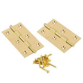 """Button Tip Hinge Polished Brass 1-1/2"""" x 1-1/2"""" x 1/16"""" Pair"""