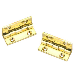 """Stop Hinge Polished Brass 1-1/2"""" x 1-1/8"""" Pair"""