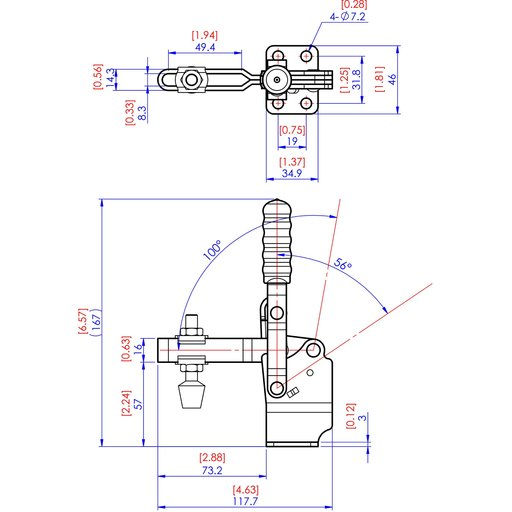 View a Larger Image of Vertical Handle High Base Toggle Clamp 2-7/8 x 1-1/8, 500lbs.