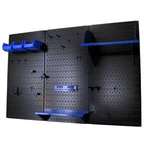 4' Metal Pegboard Standard Tool Storage Kit - Black Toolboard & Blue Accessories