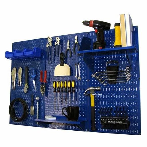 View a Larger Image of 4' Metal Pegboard Standard Tool Storage Kit - Blue Toolboard & Blue Accessories