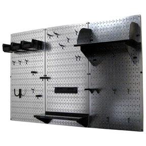 4' Metal Pegboard Standard Tool Storage Kit - Galvanized Metallic Toolboard & Black Accessories