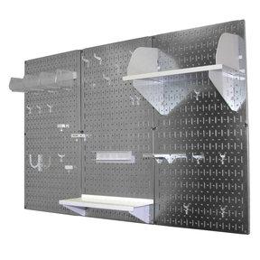 4' Metal Pegboard Standard Tool Storage Kit - Galvanized Metallic Toolboard & White Accessories