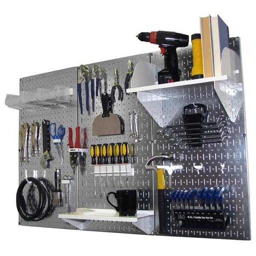 View a Larger Image of 4' Metal Pegboard Standard Tool Storage Kit - Galvanized Metallic Toolboard & White Accessories