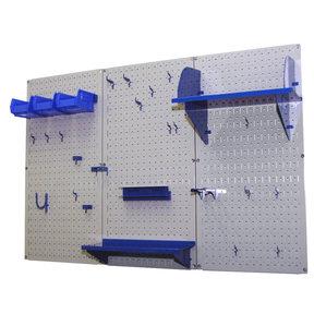 4' Metal Pegboard Standard Tool Storage Kit - Gray Toolboard & Blue Accessories