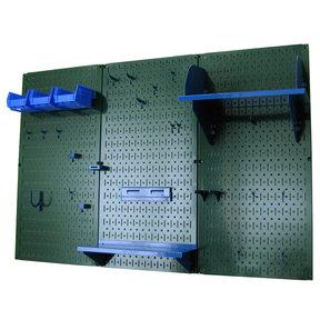 4' Metal Pegboard Standard Tool Storage Kit - Green Toolboard & Blue Accessories