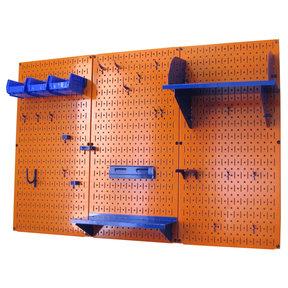 4' Metal Pegboard Standard Tool Storage Kit - Orange Toolboard & Blue Accessories