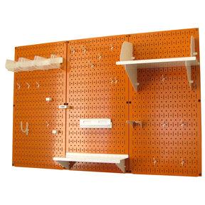 4' Metal Pegboard Standard Tool Storage Kit - Orange Toolboard & White Accessories