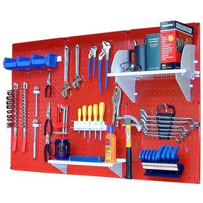 4' Metal Pegboard Standard Tool Storage Kit - Red Toolboard & White Accessories