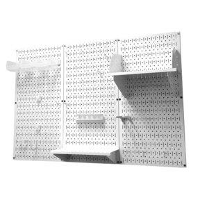 4' Metal Pegboard Standard Tool Storage Kit - White Toolboard & White Accessories