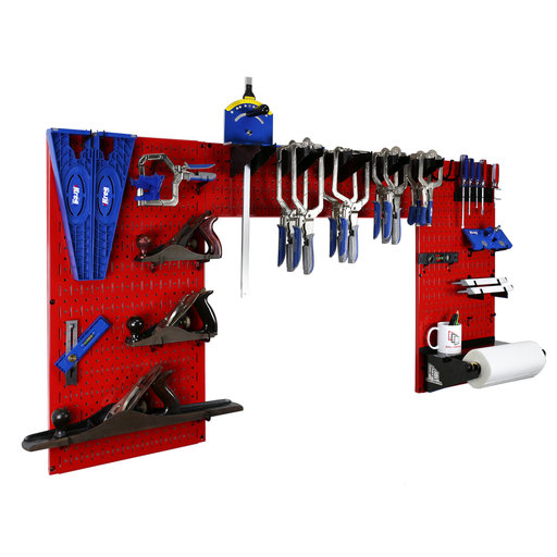 View a Larger Image of Lazy Guy DIY Maker Woodworking Tool Storage Organizer Set, Red