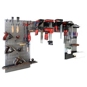 Lazy Guy DIY Maker Woodworking Tool Storage Organizer Set, Galvanized Metallic Steel