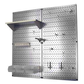 Metal Pegboard Utility Tool Storage Kit - Galvanized Steel Pegboard & White Accessories