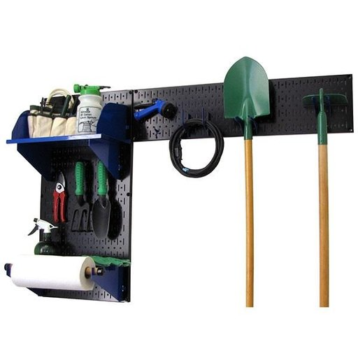 View a Larger Image of Pegboard Garden Tool Board Organizer with Black Pegboard and Blue Accessories