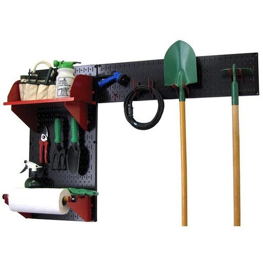 View a Larger Image of Pegboard Garden Tool Board Organizer with Black Pegboard and Red Accessories