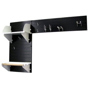 Pegboard Garden Tool Board Organizer with Black Pegboard and White Accessories