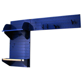 Pegboard Garden Tool Board Organizer with Blue Pegboard and Blue Accessories